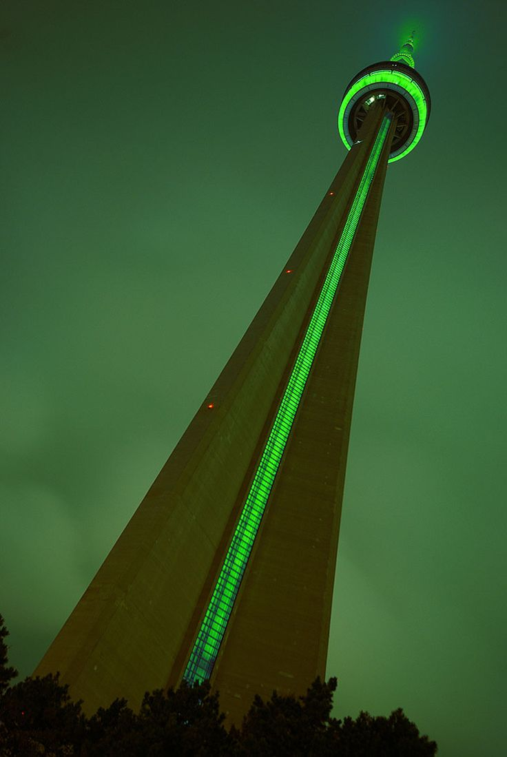 CN Tower dressed in green