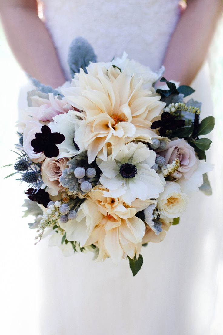 Great Neutral Tones Bouquet - dahlias, anemones, roses and orchids.
