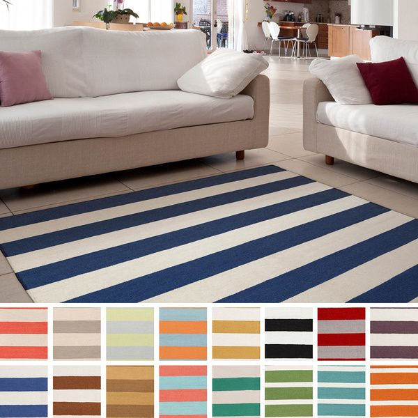 Joseph Flatweave Striped Area Rug (8' x 11') - Overstock™ Shopping - Great Deals on 7x9 - 10x14 Rugs