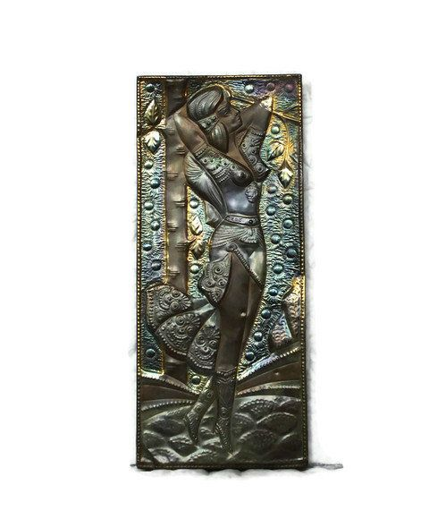 Exotic 3D wall art beauty - Large embossed brass & copper wall hanging - Vintage tribal metal repousse - African Moroccan desert relief on Wanelo