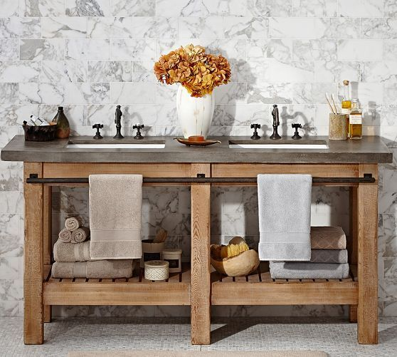 The Awesome Web The Abbott Double Sink Console by Pottery Barn is ideal for a home with many users and has sufficient storage for all your bathroom necessities