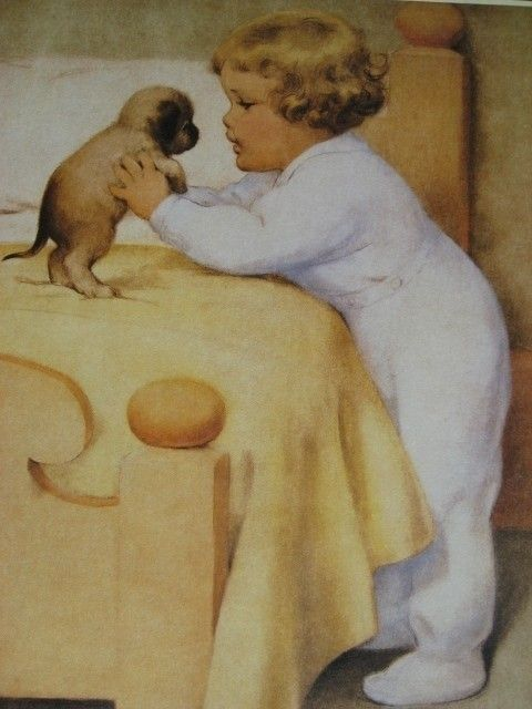 """""""Little Girl Saying Goodnite To Puppy Dog"""", by American artist - Bessie Pease Gutmann (1876-1960)"""