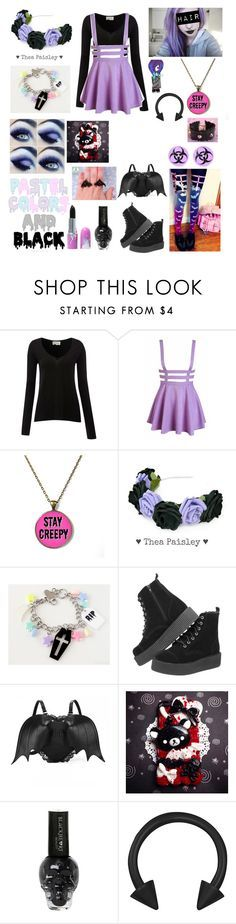 """My Attempt at a Pastel Goth Set"" by katlanacross ❤ liked on Polyvore featuring American Vintage, T.U.K. and Samsung"