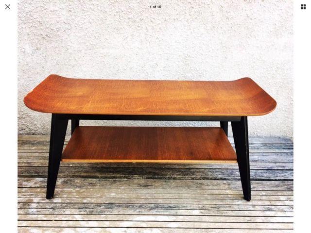 Vintage Retro Mid Century 1960 S 1970 S Sleigh Top Coffee Table Magazine Shelf Coffee Table Magazine Coffee Table Retro Mid Century