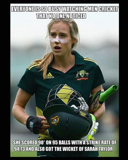 "Cricket Australia calls Ellyse Perry ""arguably the best female athlete in Australia"" and not without merit. She has played for Australia at international level in both soccer and cricket and recently batted the Aussies to victory in the One Day International against England in Hobart with 90 not out from 95 balls. Some would say that deserves serious respect. Not the cricket fans on the Facebook page 'Cricket memes', apparently, who responded to the news with a plethora of comments on…"
