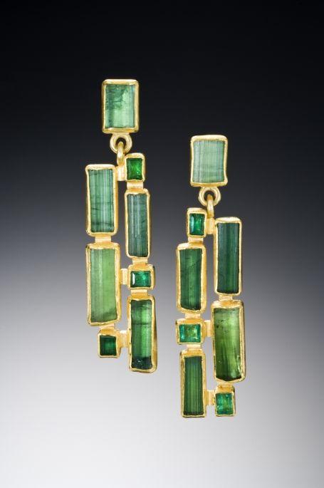 Emerald and tourmaline #earrings by Petra Class