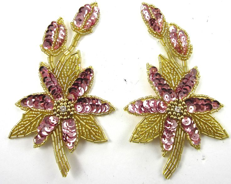 """Flower Pair with Pink Sequins and Beads and Rhinestone 5.5"""" x 3"""""""