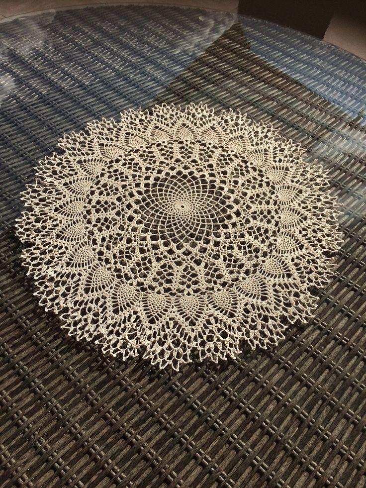 Magnifique napperon crochet dentelle très grand écru 65 cm, cadeau mariage, dentelle, fête des mères, noël