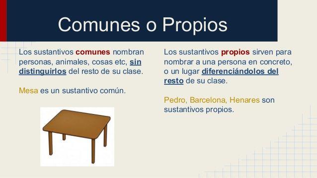 Comunes o Propios  Los sustantivos comunes nombran  personas, animales, cosas etc, sin  distinguirlos del resto de su clas...