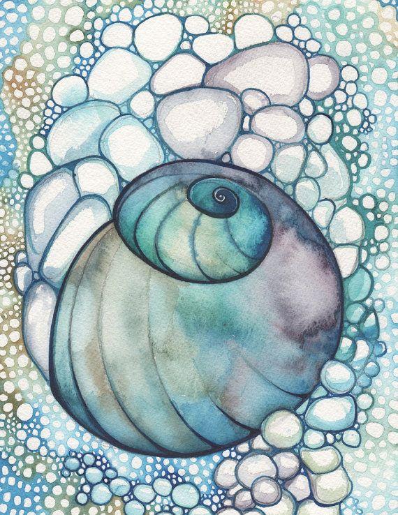 Lumaca di mare Shell stampa 8,5 x 11 di acquerello dettagliata in abalone di labradorite marino oceano bellissimo turchese verde viola bolle...