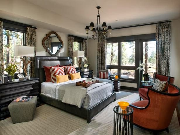 HGTV Dream Home 2014 - Lacefield Designs Charlotte Fossil textile drapes and pillows in the Master BR #lacefielddesigns #textiledesigner #hgtv
