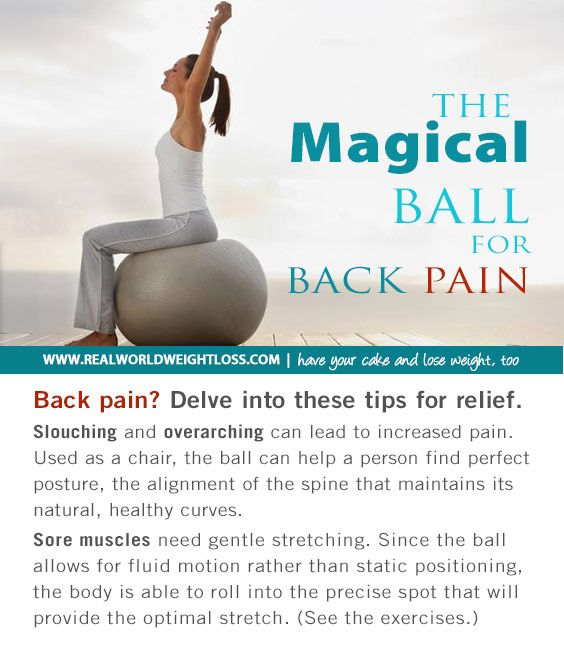 Does your back hurt? Aches and pains? Stiff? Using an inexpensive stability ball can help relieve your back pain. From better posture to simple strength and stretching exercises, the little bit o'magic with the ball can give you great relief.