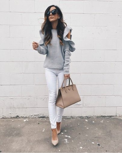 cold shoulder sweater with ruffles on @alyson_haley