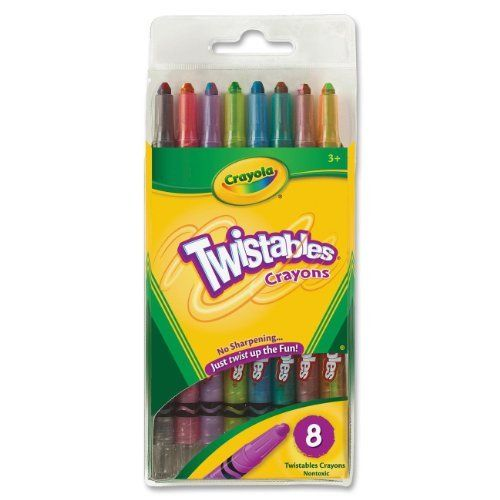 BIN527408 - Twistable Crayons, 8/PK, RD/YW/BE/OE/VT/GN/BK/BN by Crayola LLC. $7.95. Crayon Type - Twistable. Crayon Size - 4 x 7/16 in. Color(s) - Assorted. Compliance, Standards - AP Nontoxic. Crayon Special Features - 8 Colors. Twistable Crayons, 8/PK, RD/YW/BE/OE/VT/GN/BK/BN