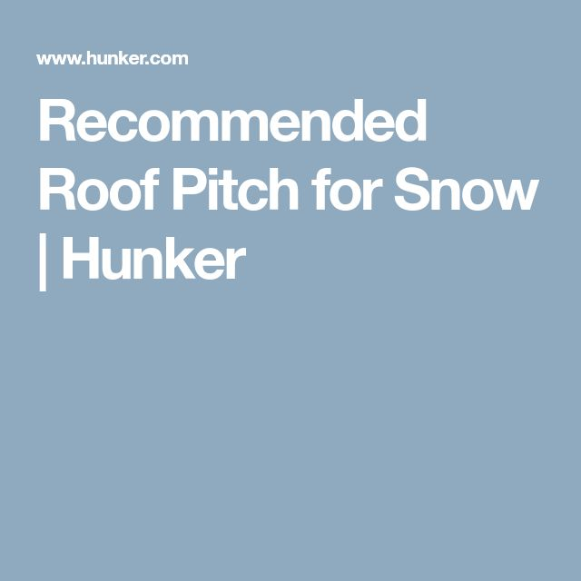 Recommended Roof Pitch for Snow | Hunker
