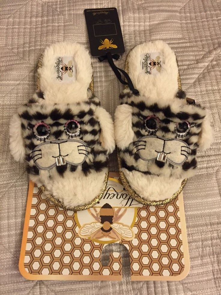 HONEYSUCKLE Ladies slippers S UK3/4 BNWT Slip in slippers with faux fur Rabbit