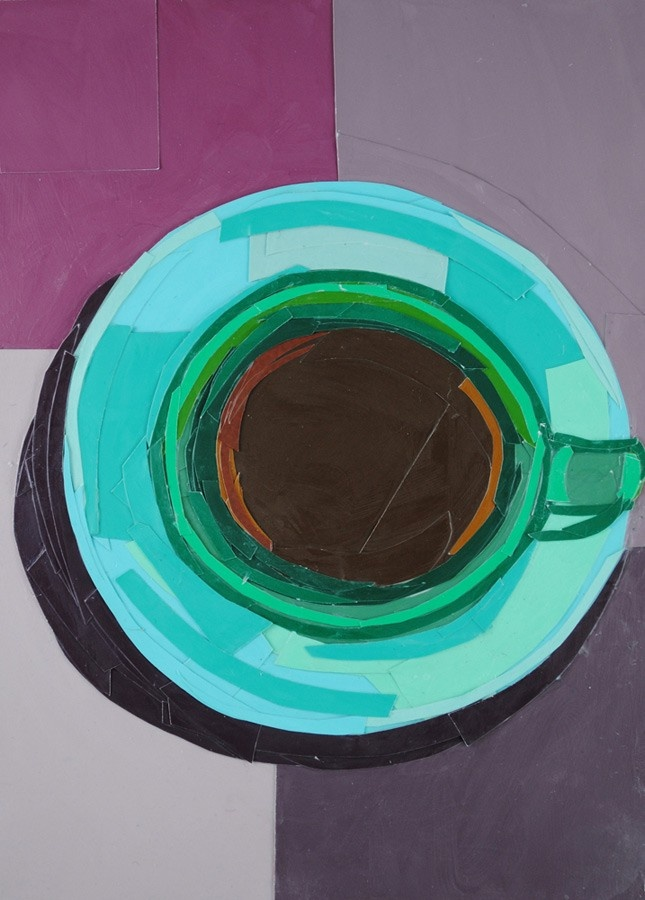 Green Coffee Cup from a Bird's-eye View, 7x5 inch ORIGINAL COLLAGE ART