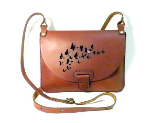 BUTTERFLIES 25cm X 18cm CROSSBODY CLUTCH BAG Genuine leather, Laser cut, Hand stitched