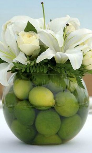 Lime Centerpiece with lilies and roses