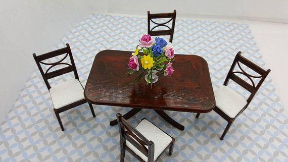 Renwal Dining room Furnishings Table Chairs Flowers Doll House Toy Miniatures  #TinLitho #DiningRoom #SuperiorMarx #DinetteSet #miniature #wlv #DollHouse #MinimalScratch #RenwalIdeal #DollhouseToy #dollhouse#miniatures#dolls#vintagetoys#retro#midcentury#marx#renwal#minimalscratch#etsyseller