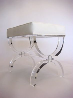 cool lucite benchModern Interiors Design, Powder Room, Lucite Furniture, Lucite Benches, Acrylics, Room Accessories, Bathroom Designs, Hollywood Regency, Bathroom Vanities Benches