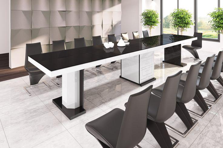 KOLOS- rozkładany stół, Hubertus, wysoki połysk, 1,6 m, 4 m