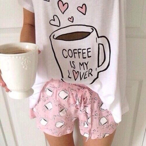 pajamas mug shorts coffee pajama pants pajama shirt pink coffee mug blouse pj pajama shorts girly tumblr outfit tumblr shorts fashion cute outfit
