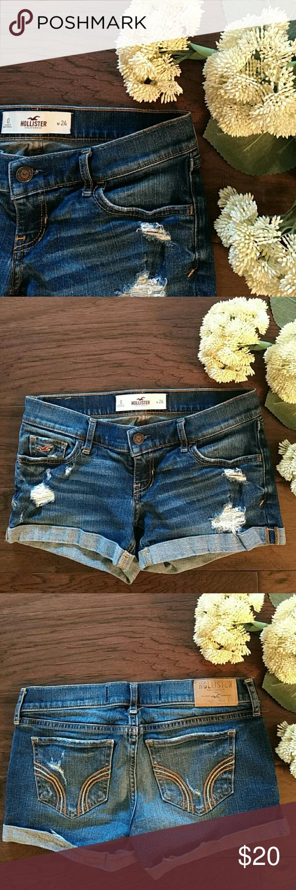 """Hollister distressed jean shorts In great condition. 3"""" inseam Hollister Shorts Jean Shorts"""