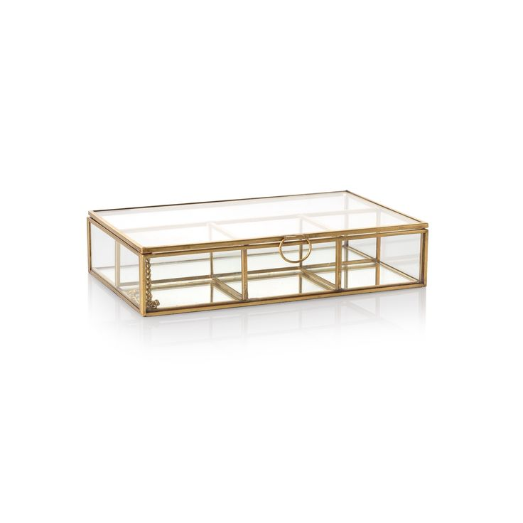Mix your materials and showcase your trinkets in a novel way with this vintage inspired gold and glass jewellery box