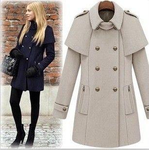 Зимние женщин нью-мыс стиле двубортное пальто мыса куртка