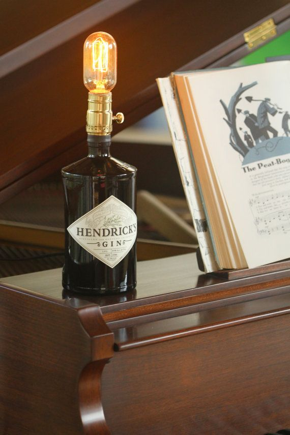 Hendricks Gin Bottle Lamp by GraffitiGlass on Etsy