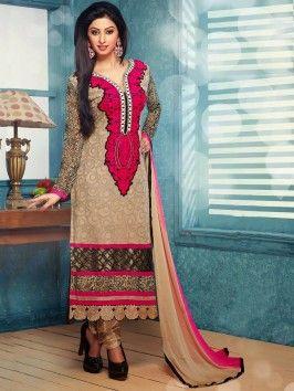 Beige Georgette Suit With Resham Work www.saree.com