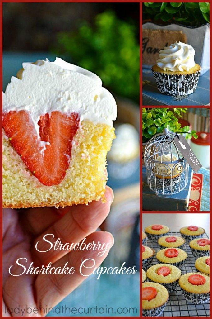 Strawberry Shortcake Cupcakes a dense sweet pound cake filled with a whole strawberry and topped with a whip cream frosting.  Your own mini strawberry shortcake cupcakes!