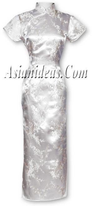 White Cherry Blossom Chinese Dresses
