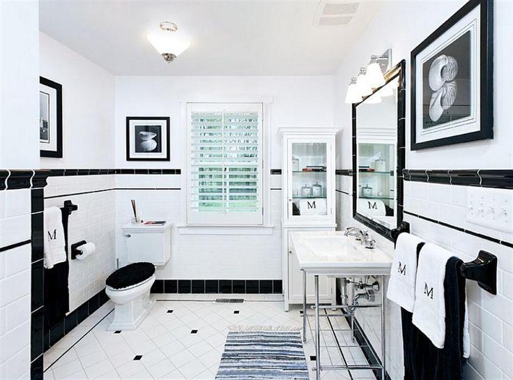 Bright Bathroom In Trendy Black And White Decor