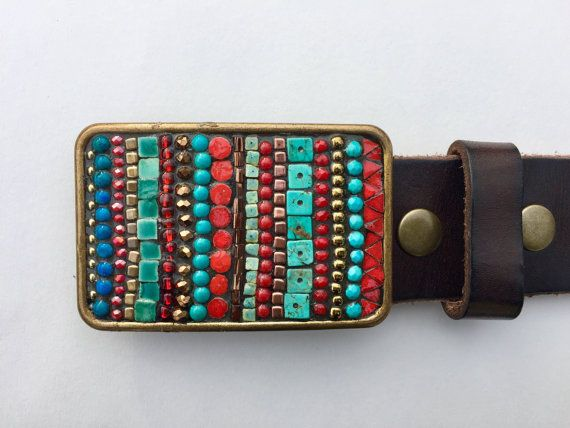 Striped Belt Buckle, Turquoise, Leather Belt, Belts for Women, Custom Belt Buckle, Red and Turquoise, Brass Buckle, Western Buckle, Handmade