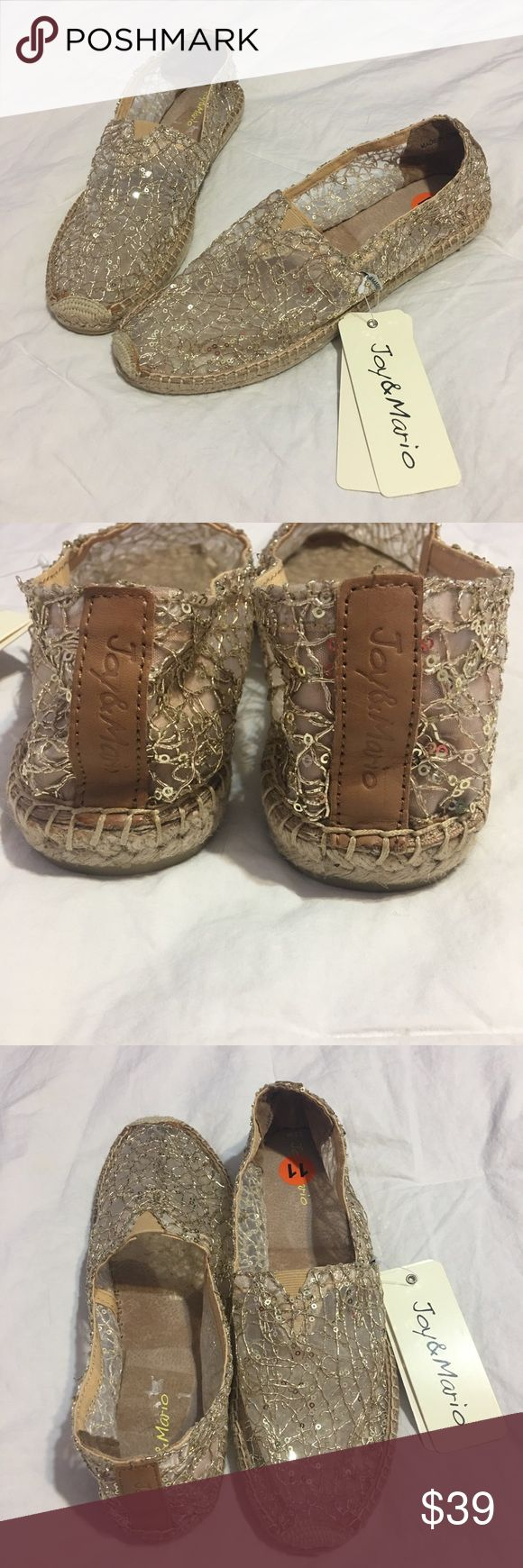 "Joy & Mario Espadrilles Super comfortable and one of a kind Joy & Mario Golden espadrilles with soft leather interior.  New with out box.  Sole measurements-11"". Joy & Mario Shoes Espadrilles"