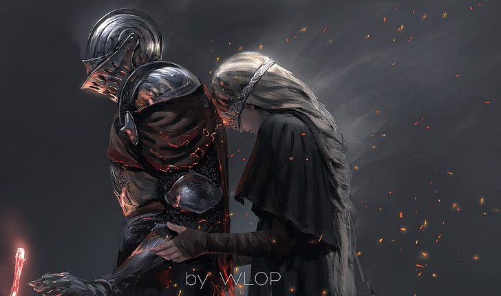 Knight And Princess Wallpaper Fantasy Art Digital Art Dark Souls Iii Hd Wallpaper Dark Souls 3d Animation Animation