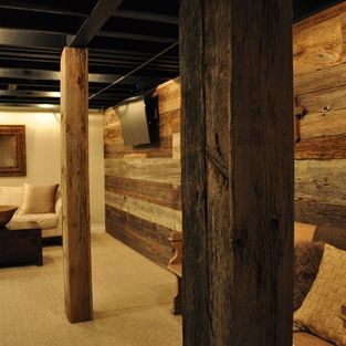 Exposed Ceiling Basement Design Ideas, Pictures, Remodel and Decor