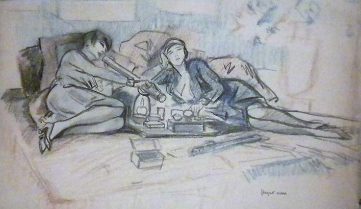Femmes fumant l'opium. Image tirée d'une suite de 16 dessins dont 6 calques signés et 10 dessins représentant des femme et hommes asiatiques fumant l'opium Vente du  07/02/2010 Résultat: 650 € Chayette & Cheval
