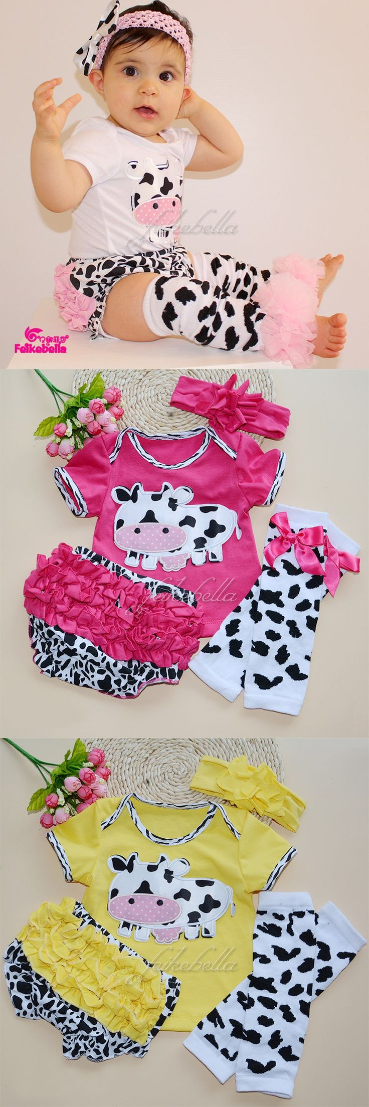 Baby Clothing Set Cotton Baby Girls Dairy Cow Print T Shirt Top + Layette Ruffles Shorts Pants +Legging Newborn Clothes