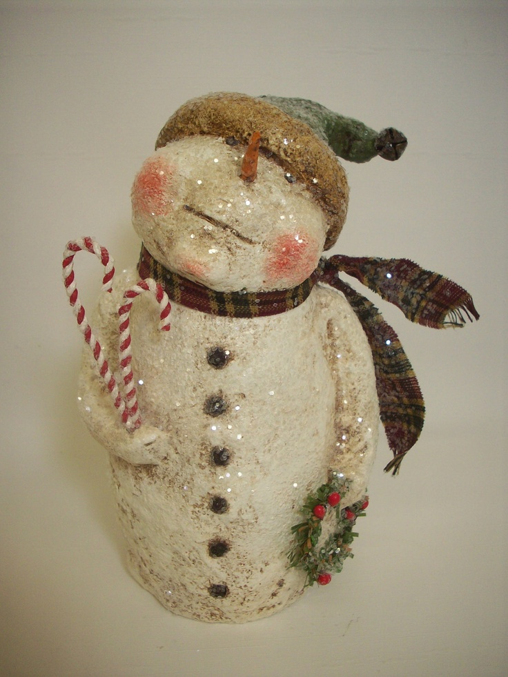 Paper Mache Folk Art Snowman with Wreath and Candy Canes. $50.00, via Etsy.