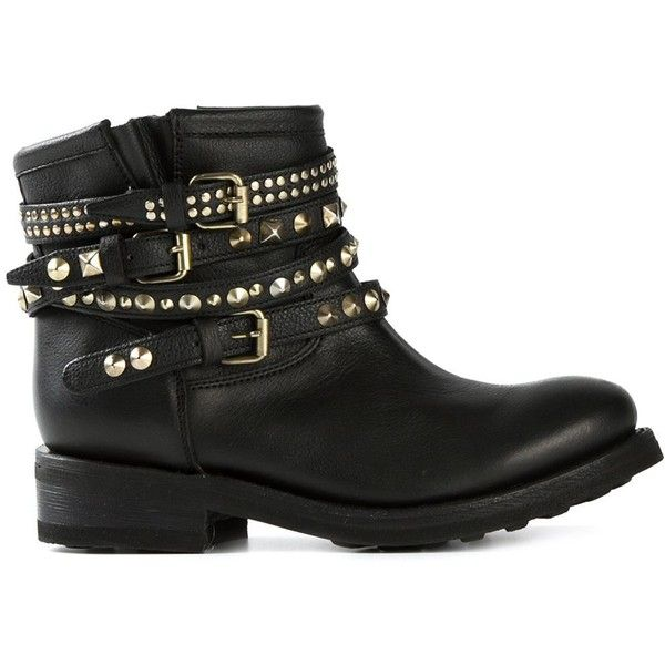 Ash Buckled Studded Biker Boots (355 CAD) ❤ liked on Polyvore featuring shoes, boots, botas, sapatos, black, ash boots, moto boots, studded moto boots, black buckle boots and engineer boots
