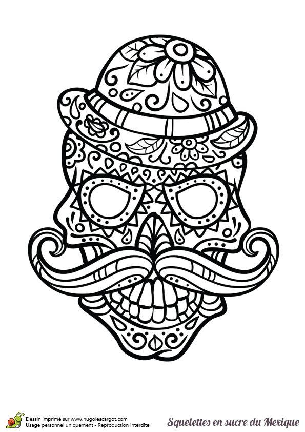 Coloriage crâne en sucre mexicain, moustache et chapeau - Hugolescargot.com