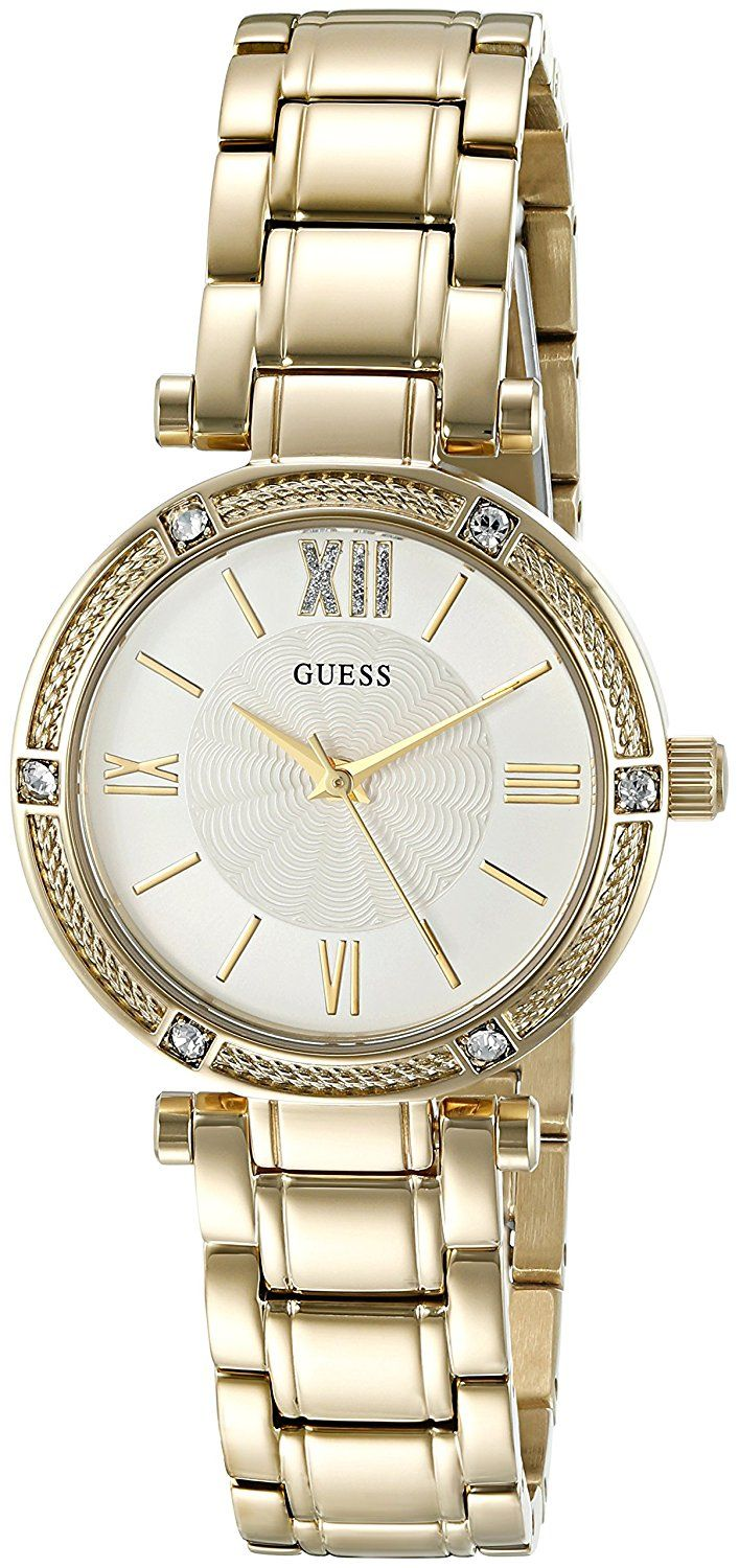GUESS Women's U0767L2 Gold-Tone Watch with Self-Adjustable Links -- Details can be found by clicking on the image.
