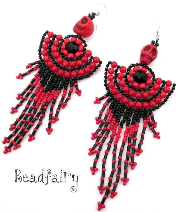 Bloody Twins Earrings by BeadfairyStore on Etsy