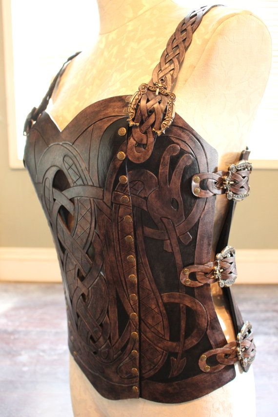 Leather armor corset Viking design celtic dragon by 12Reign