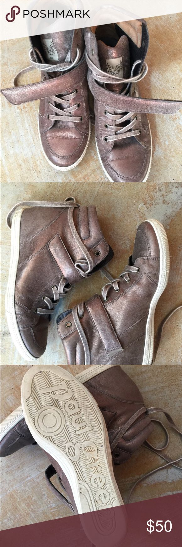 Paul Green leather high tops Paul Green bronze leather high top sneakers with inside wedge. In good used condition. Re-poshing because they are a little snug on me. Marked size 9 but more like an 8 1/2 Paul Green Shoes Sneakers