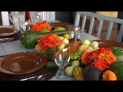 Get more decor tips with Allen: http://www.youtube.com/playlist?list=PLB06A8780599D0835&feature=view_all  With the arrival of fall, Allen shows you how to set a dinner table with gourds, pumpkins and flowers for a beautiful seasonal theme!  Follow us for