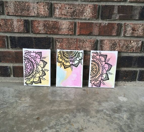 Dorm room, canvas art, etsy finds, mandala, dorm decor, girls room Watercolor mandala canvas art mandala henna design by AHalOfAGirl